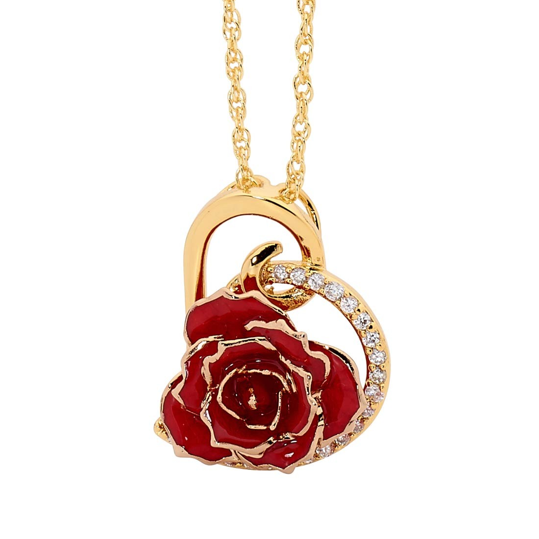 Red Matched Set in 24K Gold Heart Theme. Glazed Rose Pendant ...